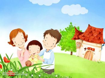 lovely_illustration_of_parents_daughter_watching_snail_on_leaf_wallcoo-com